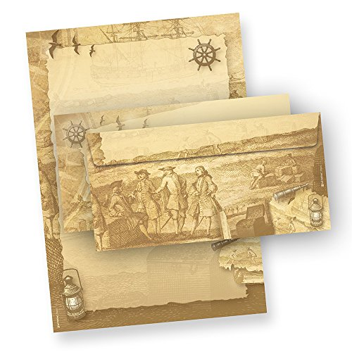 Tatmotive Piraten Briefpapier Set 25 Sets = 50tlg. mit Umschläge für Einladung Schatzkarte beidseitig bedruckt