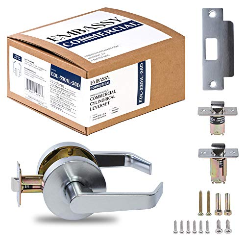 Door Handle Cylindrical Lock Passage Function-No Keys Brushed Chrome (US26D) Finish EDL5301L Non-Handed UL Certified ANSI/BHMA Grade 2 Commercial Door Lock for Heavy Duty Use