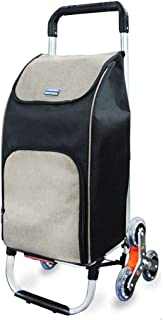 JDFHSD Aluminum Climbing Stairs Shopping Cart Lightweight Shopping Trolley Folding 6 Wheel Shopper,Travel Trolley Bag (Color : Gray)