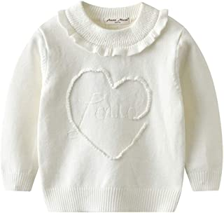 Auro Mesa Baby Girl Winter Clothes,White Sweater Toddler Little Girls Sweater Knit Ruffles