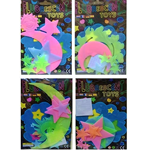 Party Hub Florescent Glow in The Dark Radium Stickers - Set of 20 Birthday Return Gifts + Thank You Card wrap