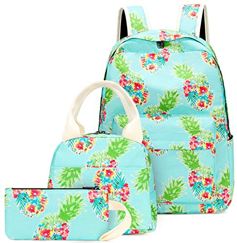 Teen Girls Backpack School Bookbag Set with Lunch Box and Pencil Case Pineapple Daypack