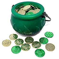 Image: JOYIN 208 St Patrick's Day Lucky Leprechaun Plastic Coins and 1 Large Green Cauldron with Handle Saint Patricks Pot of Gold Party Supplies