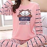 WQDS Conjunto de Pijamas de Pijama para Mujer, Servicio a Domicilio, Mujer, Manga Larga, otoño e Invierno, Seda-Garfield_SG_China