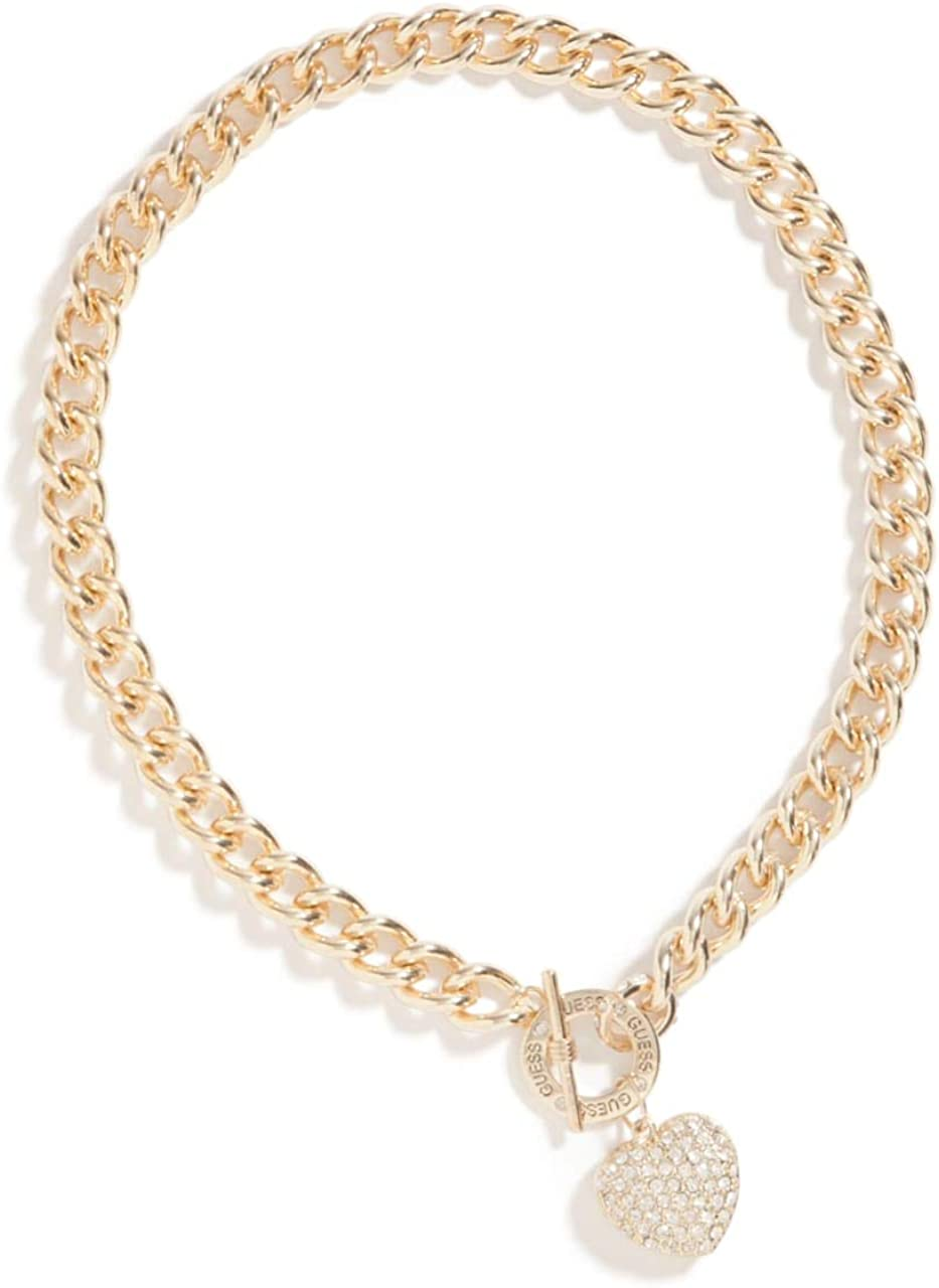 GUESS Factory Women's Gold-Tone Rhinestone Heart Necklace, NS