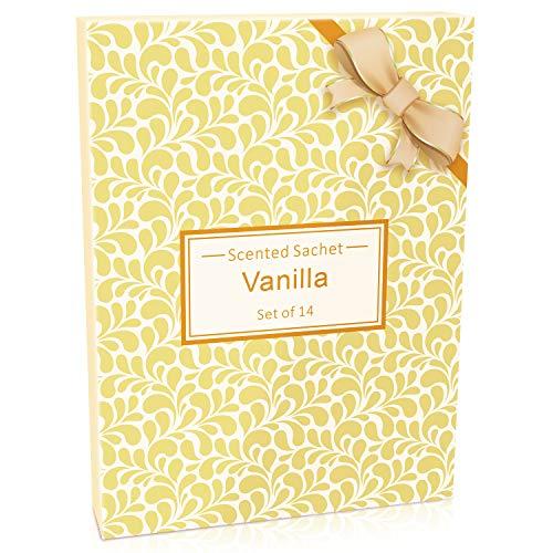 LA BELLEFÉE Sachets Parfumés Vanille pour Parfumer Tiroirs Armoires à Linge Placards Meuble à Chaussures Salles de Bain Sent Bon Voiture (10g x 14 Sachets)