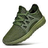 FiBiSonic Herren Damen Laufschuhe Leicht Turnschuhe Atmungsaktiv Knit Sneaker Fitness Sportschuhe Army Grün 41