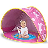 TURNMEON Baby Beach Tent with Pool,2020 Upgrade Easy Fold Up & Pop Up Unique Ocean World Baby Tent,50+ UPF UV Protection Outdoor Tent for Aged 0-4 Baby Kids Parks Beach Shade (Pink)