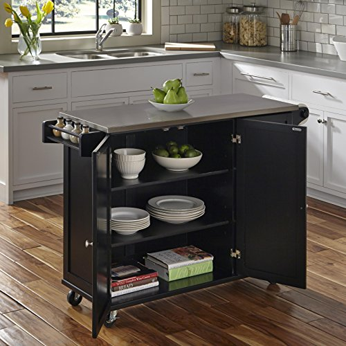 Liberty Black Kitchen Cart with Stainless Steel Top by Home Styles