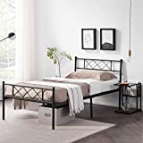 VECELO Metal Platform Bed Frame Mattress Foundation with Headboard & Footboard/Firm Support & Easy Set up Structure, Twin, Black