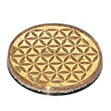 Orgonite Crystal Flower of Life Chakra Coaster – Copper Water Charging Plate with Black Tourmaline for Psychic Meditation, Chakra Balancing and E-emission Protection