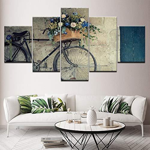 Print 5 cartoonschilderijen op canvas voor HD-afdrukken Klassieke retro Fiets Belgrado Hostelpapieren woonkamer Woonkamer kunstenaar decoratie schilderen 30x40 30x60 30x80cm Geen Frame