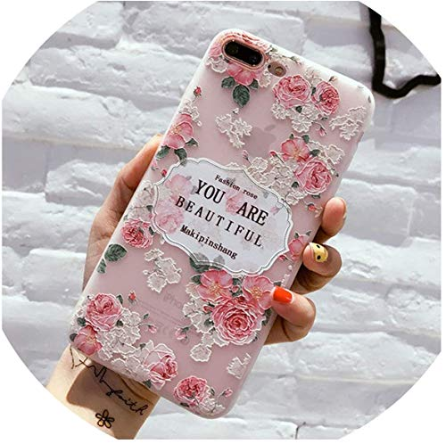 Who-Care Relief Vintage Flower Silicon Phone Case For iPhone X 5 5S Se 6 6S Plus 7 8 Plus Rose Floral Leaves Soft TPU Back Cover,T6,For iPhone 7 Plus-T5-Forfor Iphone8Plus