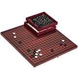 Yellow Mountain Imports Dark Cherry Pattern 0.8-Inch Folding Go Game Set Board with Double Convex Melamine Stones