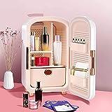 S SMAUTOP Mini nevera, 12 litros portátil de belleza, maquillaje, cuidado de la piel, refrigerador, cosméticos, refrigerador compacto, calentador para dormitorio, oficina, coche, dormitorio