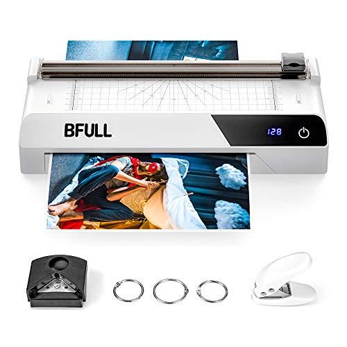 BFULL 6-in-1-Laminiergerät mit Touchscreen, Maschinenset Laminiergerät, A4, Eckabrunder, Papierschneider, 30 Laminier-Hüllen, Lochstanze, für das Zuhause/die Schule/die Büronutzung (Weiß)