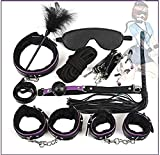 Mujer Hombre Paquete Cama Restricción Muñeca Tobillo Puño Pareja Juego Combinación Happy Toy Set (Morado)