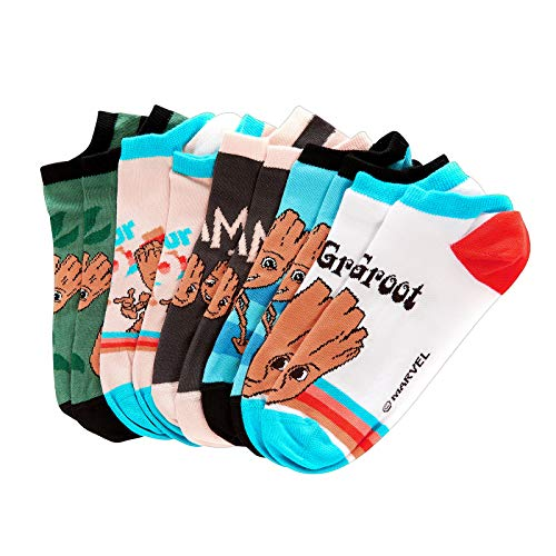 Elbenwald Marvel Sneakersocken-Set mit Guardians of The Galaxy Baby Groot Motiv Verschiedene Designs 5er Set Unisex - 35-38