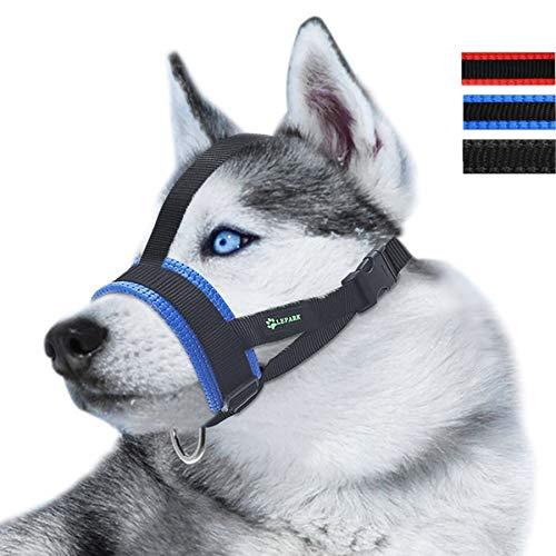 Lepark Maulkorb mit Kopfgurt, verhindert das Abnehmen durch Pfoten für kleine, mittelgroße und große Hunde (M/Blau)