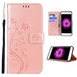 FLYEE Samsung S8 Case,Galaxy S8 Wallet Case, Flip Case Wallet Leather [Kickstand] Emboss Butterfly Flower Folio Magnetic Protective Cover with Card Slot (Samsung Galaxy s8 5.8 inch Flower-Rose Gold
