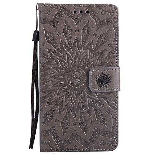 Lomogo LG G4 Hülle Leder Blumenprägung, Schutzhülle Brieftasche mit Kartenfach Klappbar Magnetverschluss Stoßfest Kratzfest Handyhülle Case für LG G4 (H815) - KATU22687 Grau