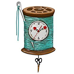 Allen Designs Needle & Thread Whimsical Sewing Pendulum Wall Clock