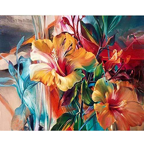 BERYART Pintura por números para adultos, niños y principiantes, pintura por números en lienzo, pétalos brillantes de 40,6 x 50,8 cm (sin marco)