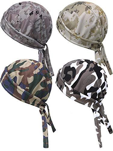 Blulu 4 Piezas de Gorra de Cabeza de Sudoración Bandana de Protección de UV Pañuelo de Cabeza de Ciclismo de Rápido Secado para Hombres Mujeres