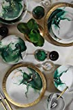 Fogligold - Set di 24 stoviglie in porcellana per 6 persone, piatti fondi, piatti piani, piatti da dessert, piatti da dessert, stile vintage, servizio da tavola moderno (verde)