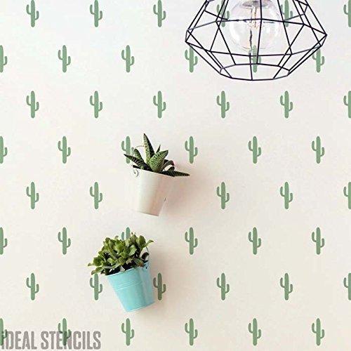 Kaktus Muster Schablone Wohndeko Tropische Wand Schablone Farbe Tapete Muster On Walls und Auch Individualisieren Stoffe & Möbel Wiederverwendbar Größe Optionen - Medium / 24x37cm