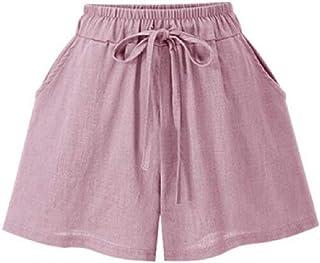 CRYYU Women Cotton Linen Drawstring A-Line Elastic Waist Summer Shorts