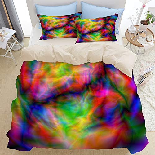 GLONLY Bedding Duvet Cover Set Super King,Glitch Abstract Neon Glow Space Alien Planet Laser Show Red Cozy Decorative,Bedroom 3pcs Microfiber Quilt Cover Sets,Zipper Closure with 2 Pillow Shams