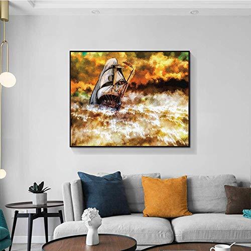 zgldx73 Modernes Seestückkunst-Leinwanddruckboot, das im Meereswellen-Wandbild segelt, das für Wohnzimmerdekorationsmalerei verwendet wird60x48cm ohne gerahmt