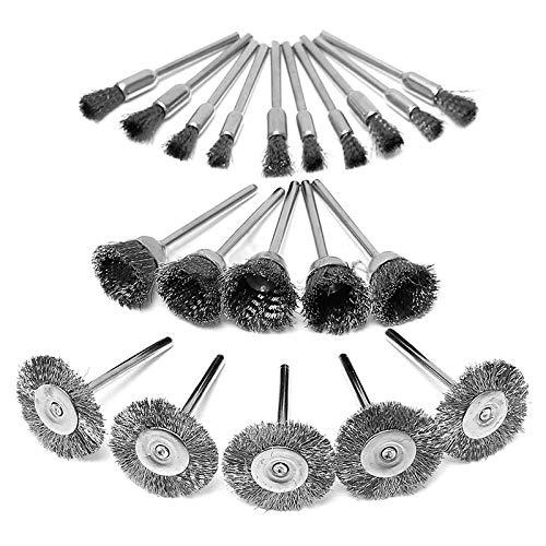JINGERL 20pcs   Définir Les brosses de Tampon de Polissage de Roue en Acier pour Accessoires de broyeur Rotatif Mini Outil