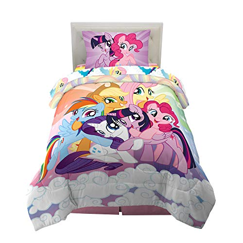 JLKPG American My Little Pony Equestria Girls Bedding Sets Kids Clubhouse Super Soft Luxury 3 Piece Twin Size in Classic Design Bedding Set Duvet Cover Flat Sheet Pillow Cases 100/% Microfiber