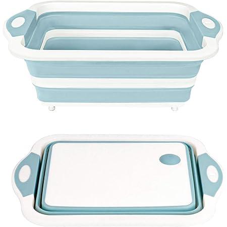 QIMHUI 洗い桶 折りたたみ 水切りかご排水機能付き 8.5L超大容量 ハンドル付き洗い桶屋内外に適用 多機能 無臭 無毒 収納便利