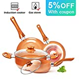 KUTIME 6pcs Cookware Set Pot and Pan Set Non-stick Frying Pans Set Ceramic Coating Soup Pot, Milk Pot, Copper...