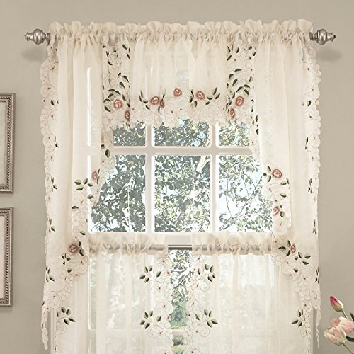 Sweet Home Collection Kitchen Window Tier, Swag, or Valance Curtain Treatment in Stylish and Unique Patterns and Designs for All Home Décor, Rosemary Linen