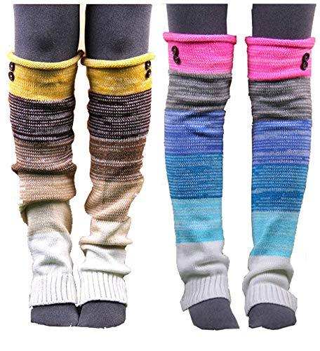 VIGVOG Women's Boho Knitted Warm Long Leg Warmers(Rainbow&Yellow)
