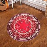 Alfombras Modernas Redondas Antideslizante Pentagrama rojo púrpura Geometricas diseño 3D facil Limpieza Lavables Home Interior Sala Dormitorio Nordic Minimalista Baño Cocina Suave mats D1324 Φ100cm