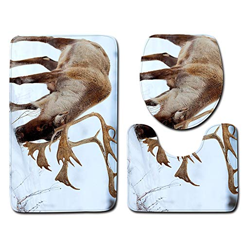 DREAMING-3D Elk Flannel Toilet Bathroom Anti-Skid Floor Mat Door Mat Toilet Floor Mat Floor Mat + U-Shaped Mat + Toilet Cover Three-Piece 50cm * 80cm