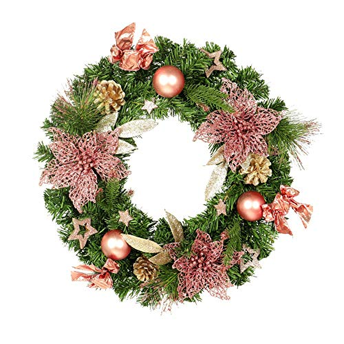 LIUMANG Christmas Decoration Christmas Wreath Door Hanging Durable Christmas Decorations Hotel Home Pendant Decoration Window Rose Gold Garland Beautiful (Color : Photo Color, Size : 30cm)