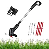 Cordless Grass Trimmer Handheld Lawn Mower Weeder Cutter Electric Grass Trimmers and Edge Trimming Machine Garden Pruning Tools(18000rpm, 1H Fast Charge, 25cm Cutting Width, with Blades)