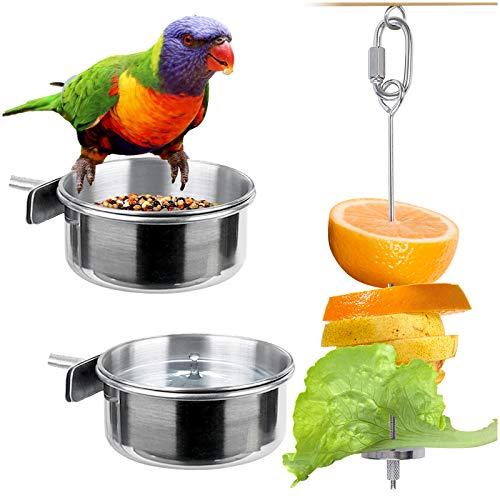 Kalevel 2pcs Bird Feeder Bowl Feeding Coop Cup Stainless Steel Parrot Cage Food Water Dish with Bird Fruit Holder Veggie Skewer