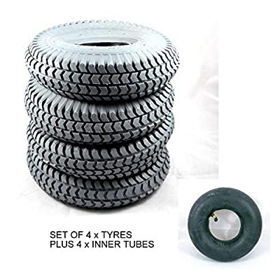 4 Grey Block Tread Mobility Scooter Tyres and 4 Inner Tubes Size 260x85 3.00-4 300x4