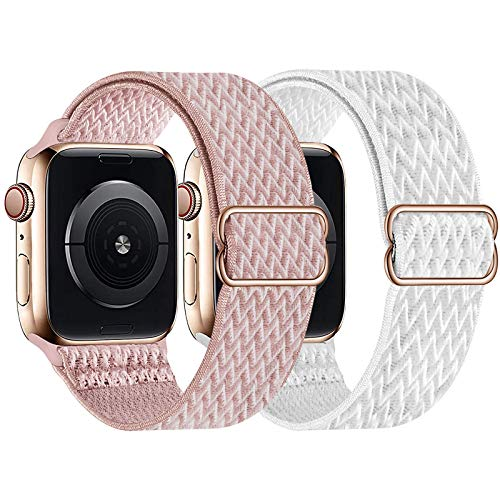 UHKZ 2 Pack Stretchy Solo Loop Compatible with Apple Watch Bands 38mm 40mm 42mm 44mm,Adjustable Braided Sport Elastic Nylon Wristband for iWatch Series 6/SE/5/4/3/2/1,Rose Pink/White,42/44mm