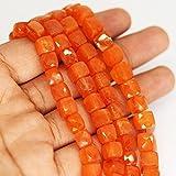 corniola naturale Smooth Square box Cube Craft perline filo allentato 25,4cm 7mm
