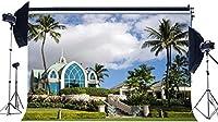 HDトロピカルキャッスルの背景10X7FTビニールヤシの木ハワイの背景緑の植物草の牧草地青空白い雲夏の写真観光の背景結婚式の写真スタジオの小道具EB139