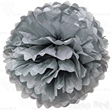 Balloon Red 4 Inch Tissue Paper Flower Pom Poms, Pack of 10, Grey