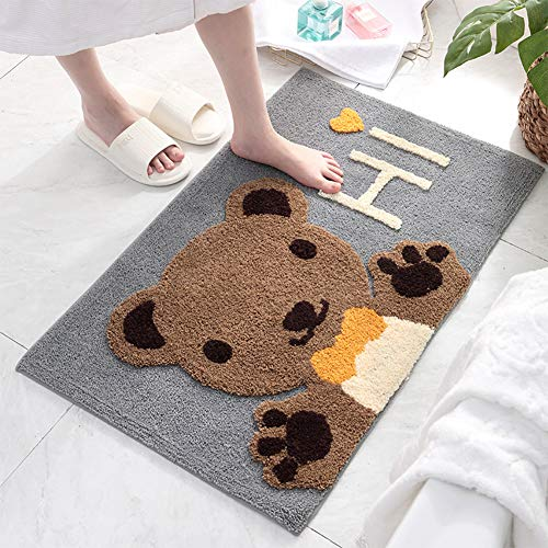 redcolourful Water Absorption Nonslip Cartoon Microfiber Doormat for Home Bathroom Hey, Bear 5080cm Fashion and Comfort